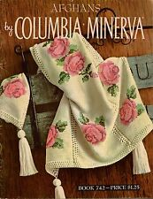 Columbia Minerva 742 Afghans Knitting Crochet Patterns Rose Cable 1960s