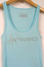 VICTORIA'S SECRET I Do LIGHT Blue JUST Married RHINESTONE Bride TANK TOP  Sz S