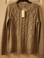 SONOMA Women Life+Style Sweater, cable knit, Size Small, Color Lt. Gray