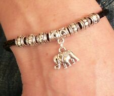 Elephant Charm Bracelet Silver Sacred Animal Wildlife Friendship Birthday Gift