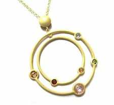 Multi Color CZ Open Floating Circle Brushed Satin Gold Plated Necklace Pendant