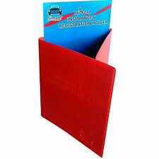 "Red Tri-Fold CAR INSURANCE REGISTRATION CARD HOLDER 5.25x6"" Embossed FauxLeather"