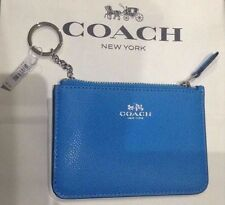 COACH Authentic Leather Key Pouch W Gusset Azure Blue Card Case Coin Wallet NWT