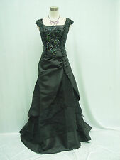 Cherlone Plus Size Black Long Bridesmaid Formal Wedding Evening Dress 18-20
