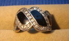 V1 Bague argent massif 925 vintage bijou lot ancien diamant oxyde zyrconium