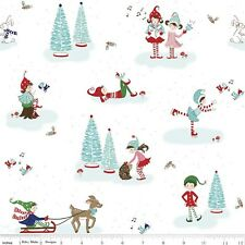 Riley Blake Pixie Noel Christmas Fabric. Main in White. by the FQ