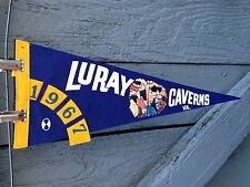"Vintage Travel Theme '67 Luray Caverns Virginia 17-1/2"" Felt Blue Yellow Pennant"