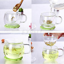 Transparent Clear Glass Milk Mug Coffee Tea Cup With Tea Infuser Filter&Lid New