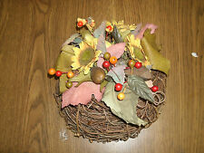 "9"" Wreath Made Out of Woven Twigs With Cloth Flowers"
