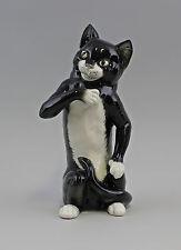 Porzellanfigur Stehende Katze schwarz/weiß Ens Thüringen 9941639