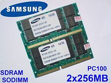 512MB 2x256MB PC100 SDRAM CL2 NP SO-DIMM 144 pin NOTEBOOK LAPTOP SODIMM RAM