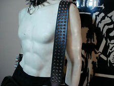 LEATHER SPIKED GUITAR STRAP. (BUCKLE UP) BLACK METAL...(MDLS0298)... GALDER