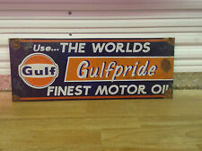 Old antique style Gulf motor oil gas service station pump sign very nice sign