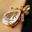 Fashion 14K Gold Plated Clear Teardrop Crystal CZ Womens Pendant Fit Necklace