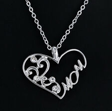 """Fashion Love """"Mom""""Crystal Heart Chain Pendant Charm Necklace Mother's Day Gifts"""