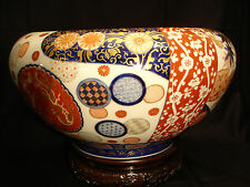 "15 3/4"" MARKED Fukagawa JAPANESE MEIJI PERIOD IMARI HIBACHI BOWL POT"
