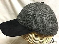 STETSON BLACK / GRAY 100% WOOL SUEDE BILL ADJUSTABLE BALL CAP BASEBALL HAT