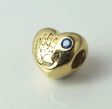 Authentic PANDORA Baby Boy Silver Heart Charm 24K Gold Plated 791281CZB Genuine