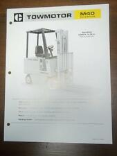 Caterpillar Lift Truck Brochure~M40 Electric Fork Lift~Specifications/Data Sheet