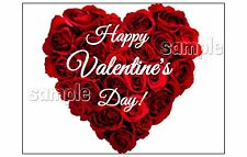Rose Heart any message Edible image cake topper Decoration sheet  VALENTINES