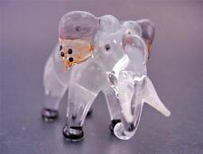 Glass ELEPHANT, Tinted Grey Glass Animal, Painted Glass Figurine, Ornament Gift