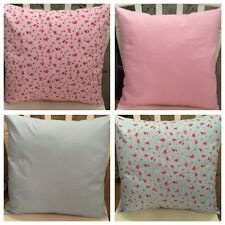 "4 Rose & Hubble Pink Blue Vintage Floral Cushion Covers 16"" Pink Shabby Chic"