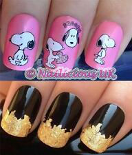 NAIL ART SET #498 SNOOPY FIGURE HEAD WATER TRANSFERS/DECALS/STICKERS & GOLD LEAF