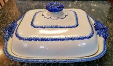 Staffordshire Feather Edge Covered Vegetable Bowl Leeds Pearlware Ca.1830 Rare!