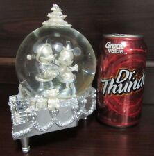 RARE Disney Mickey Mouse Minnie Chip N Dale Silver Christmas Piano Snowglobe