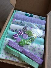 "Patchwork Craft Kit Purple Green 4"" Fabric Squares Ribbon Buttons Floral Gift"