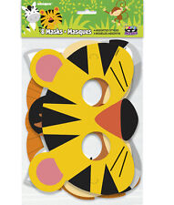 ANIMAL JUNGLE PAPER MASKS (8) ~ Birthday Party Supplies Favors Safari Lion Tiger