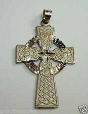 Brand New 14K White Gold Irish Celtic Cross Religious Pendant