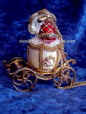 Russian Empress Alexandra White Carriage Egg & matching Ruby Red Necklace