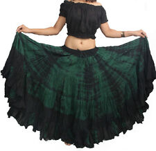 25 yard belly dance dancing cotton skirt & Top 2pc Tribal Gypsy Black-D Green