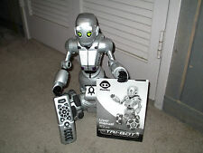 "WowWee Robotics RS Tri-Bot 15"" Interactive Talking Robot Room Guard RARE SILVER"