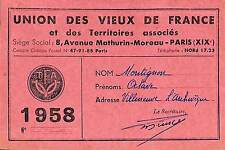 CARTE MEMBRE UNION DES VIEUX DE FRANCE 1958