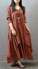 Muslim Women Kaftan Abaya Jilbab Islamic Girls Cotton Linen Loose Maxi Dress New