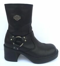 Vtg 90s Womens HARLEY DAVIDSON 6 Black Leather HARNESS Motorcycle Chunky BOOTS