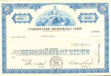 Underwater Technology Corp 1972 New York share stock certificate