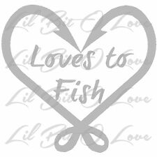 Loves to Fish Vinyl Decal Sticker with Fish Hook Heart for vehicle Fishing Car
