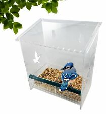 Window Bird Feeder, Removable Feed Tray, Crystal Clear, Water Drain Holes