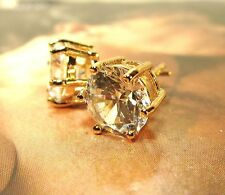 Men's/Unisex~SPECIAL BOLD~8mm Six Prong Clear CZ Studs 14k Yellow Gold Filled