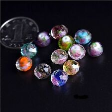 10Pcs Mixed Colours Faceted Rondelle Flower Lampwork Glass Loose Beads 10MM