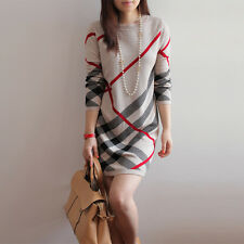Women Winter Dress Knitted Large Size Long Sleeve Stripe Warm wool Sweater Dress
