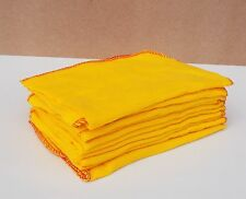 10 x  Large Quality Yellow Duster  Cotton Polishing Cloth Cleaning Dusters 16""