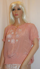 THE INC Iris Embroidered Peach Silk Top BNWT