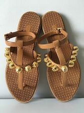 Miu Miu By Prada Studded Gold Tone Flat Ankla Strap Leather Sandals. Size 36.5