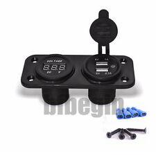 1× Car Waterproof 12V 24V Blue Led Phone Dual USB Socket Charger Voltage Gauge