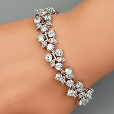 7 In White Gold Plated Clear Cubic Zirconia CZ Wedding Bridal Tennis Bracelet 91