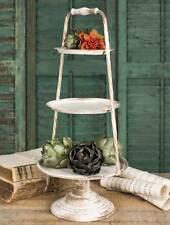 French Country Shabby Cottage Chic - Vintage Distressed 3 Tier Metal Tray Stand
